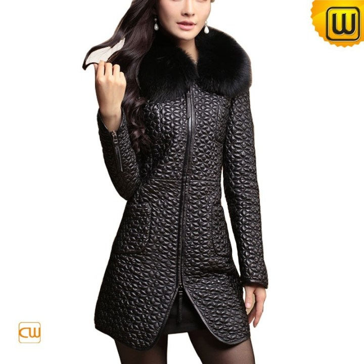 Women Quilted Sheepskin Leather Coat with Fur Collar