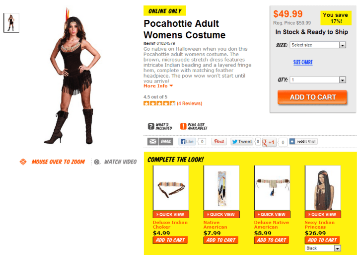 """Here's another Spirit Halloween gem: Pocahottie. Costumes that depict highly sexualized images of Native American women also hide real-life struggles against sexual violence in native communities. """"Pocahottie"""" is no exception. h/t Native Appropriations, who points out that the descriptive text for this (and many others) used to be much more explicitly sexual."""