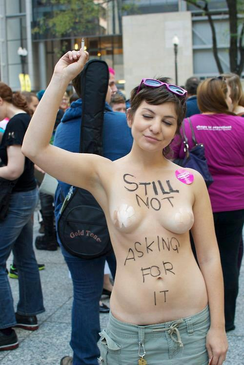 shirtless woman: STILL not asking for it.