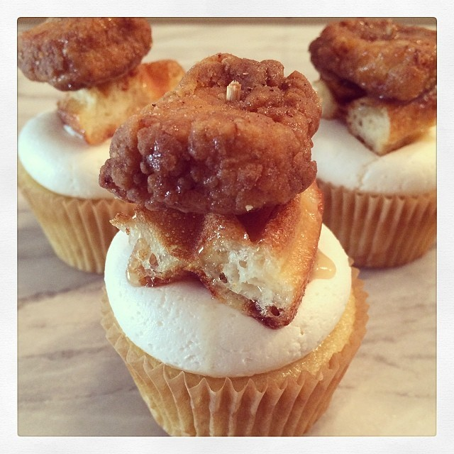 Chicken and Waffles Cupcake - buttermilk cake, topped with maple pecan buttercream, a maple butter waffle, and buttermilk fried chicken drizzled with maple butter sauce