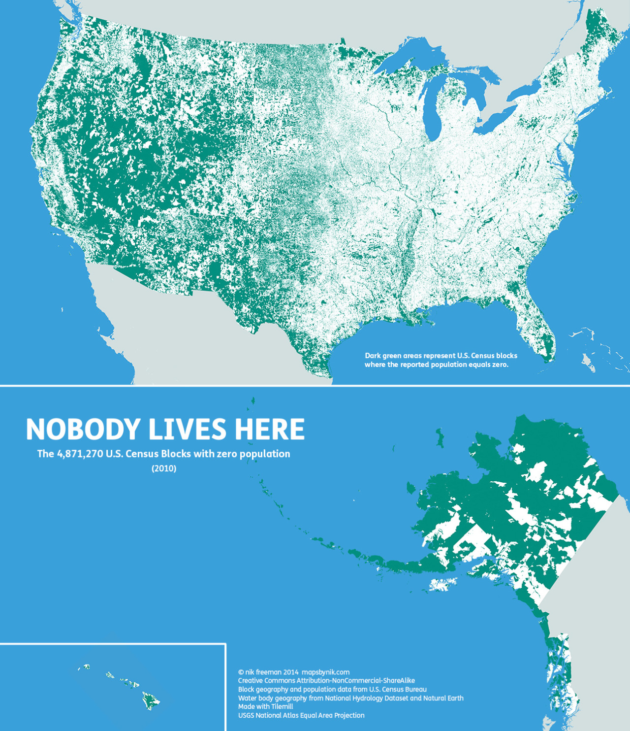 Nobody lives here: The nearly 5 million Census Blocks with zero population  A Block is the smallest area unit used by the U.S. Census Bureau for tabulating statistics. As of the 2010 census, the United States consists of 11,078,300 Census Blocks. Of them, 4,871,270 blocks totaling 4.61 million square kilometers were reported to have no population living inside them. Despite having a population of more than 310 million people, 47 percent of the USA remains unoccupied.  Green shading indicates unoccupied Census Blocks. A single inhabitant is enough to omit a block from shading  Quick update: If you're the kind of map lover who cares about cartographic accuracy, check out the new version which fixes the Gulf of California. If you save this map for your own projects, please use this one instead.  Map observations  The map tends to highlight two types of areas:  places where human habitation is physically restrictive or impossible, and places where human habitation is prohibited by social or legal convention. Water features such lakes, rivers, swamps and floodplains are revealed as places where it is hard for people to live. In addition, the mountains and deserts of the West, with their hostility to human survival, remain largely void of permanent population.  Of the places where settlement is prohibited, the most apparent are wilderness protection and recreational areas (such as national and state parks) and military bases. At the national and regional scales, these places appear as large green tracts surrounded by otherwise populated countryside.  At the local level, city and county parks emerge in contrast to their developed urban and suburban surroundings. At this scale, even major roads such as highways and interstates stretch like ribbons across the landscape.  Commercial and industrial areas are also likely to be green on this map. The local shopping mall, an office park, a warehouse district or a factory may have their own Census Blocks. But if people don't live 