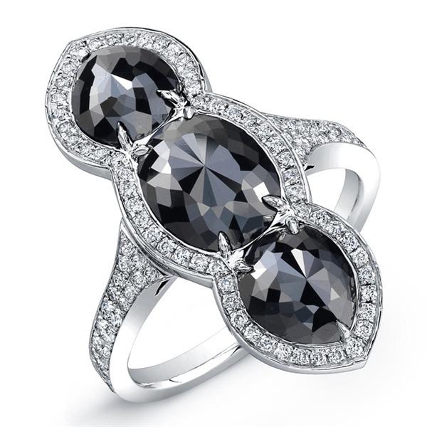 Vertical black diamond ring