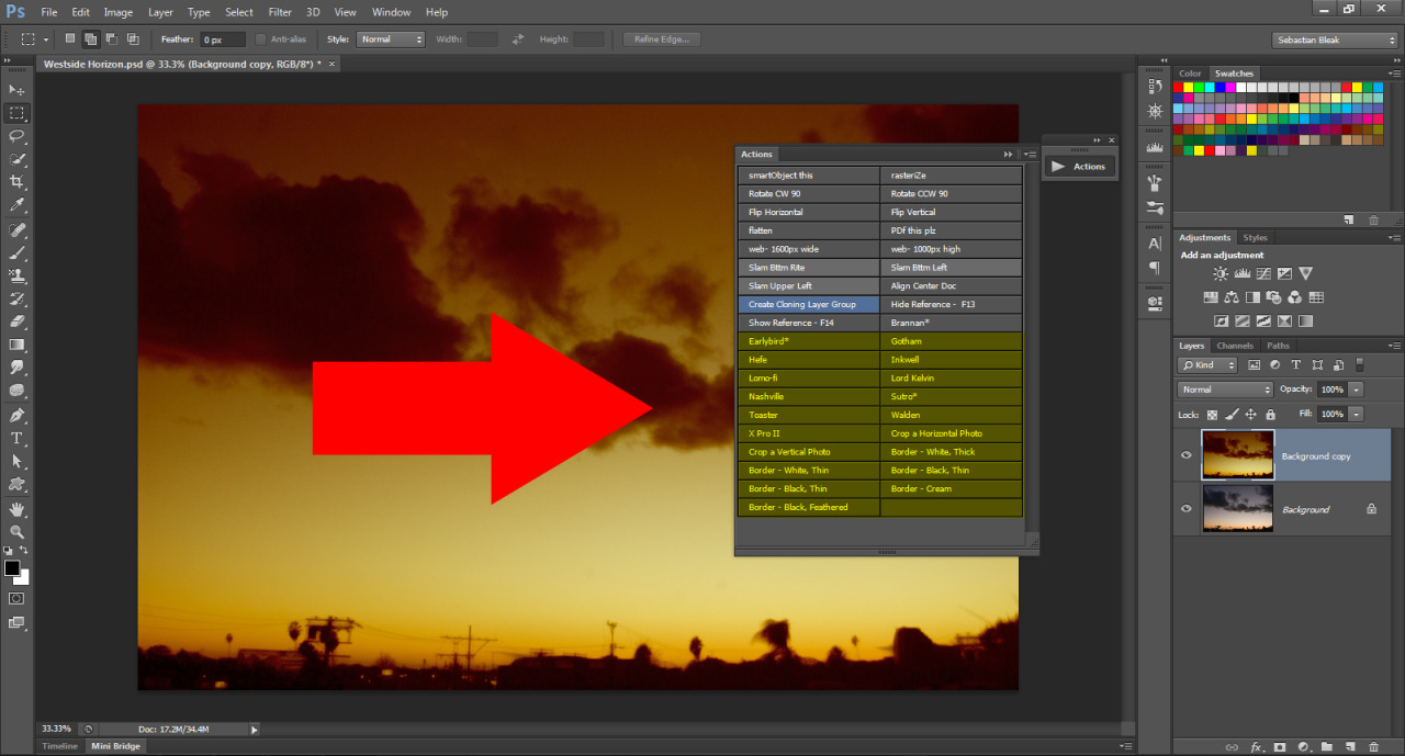 Actions pallet Ps CS6 CC