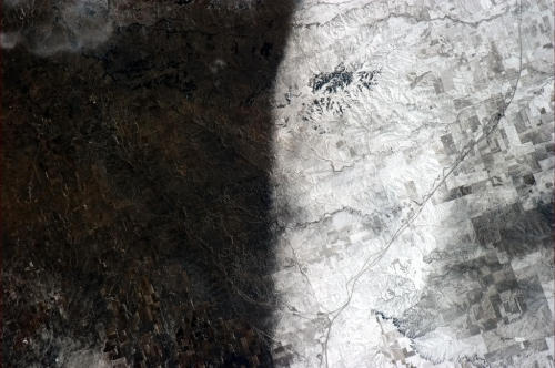 colchrishadfield: A snowstorm left a clear divide in the Southwestern US in January. A natural yin and yang on the prairie. I'm completely addicted to this tumblr by Canadian Astronaut Chris Hadfield currently living in space at the ISS.