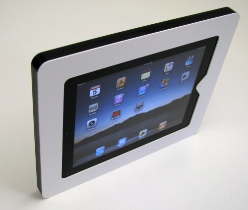 Our Impress ECO iPad Enclosure is very affordable without sacrificing security or build quality.(for iPad 2,3) Features Theft resistant security fasteners keep the iPad safe. Security wrench included. 2 position face plate lets you block the home button with pin hole access, or leave it uncovered for full access. Standard VESA mounting patterns 75 x 75, 100 x 100 for use with almost any VESA mount on the market. Power routing management. Allows the iPad to be plugged in at all times with any mount. Does not interfere with wireless or cell service to iPad. Fits iPad 2 and 3. Access to both cameras. (front camera is blocked if face plate is in the open button position)