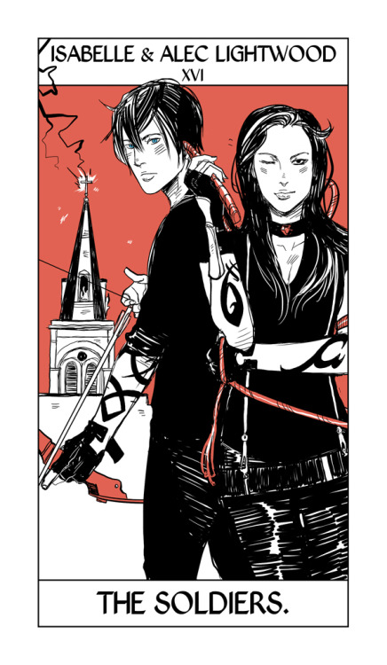 More of Cassandra Jean's Shadowhunter Tarot! Here Alec and Isabelle take the place of the Tower Card, only with the Institute as the Tower in the background.