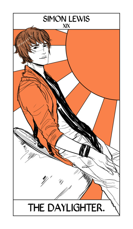 In honor of all the Simon-ness today, Simon's card from Cassandra Jean's Shadowhunter Tarot!   Here Simon takes the Sun Card, only as a Daylighter.