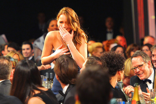 Jennifer Lawrence winning the SAG