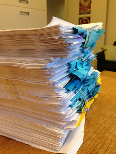 Print-outs of ALLEGIANT drafts with Katherine Tegen's editorial notes and post-its.
