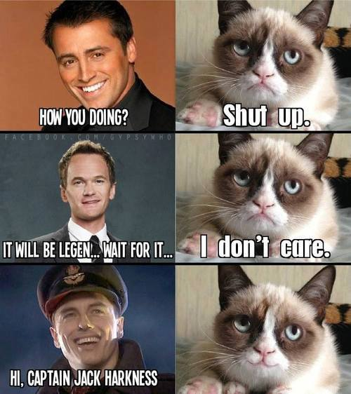Joey from Friends sez HOW YOU DOING? Grumpy cat sez SHUT UP. Barney Stinson sez IT WILL BE LEGEN ... WAIT FOR IT ... Grumpy Cat sez I DON'T CARE. Captain Jack says HI. I'M CAPTAIN JACK HARKNESS. Grumpy Cat SMILES.