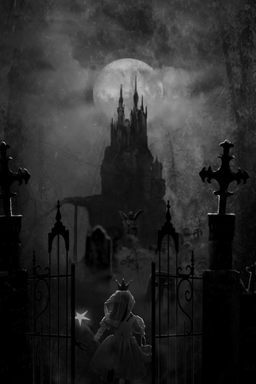 Is this a fairytale or a horror story?<br /> Is the princess entering the grounds<br /> of her dream mansion or a house of horrors?<br /> Will her wand protect her?<br /> If it was up to me, she will be entering<br /> the house from her deepest, darkest fears.<br /> Her wand will be whisked away from her hand.<br /> The gates behind her lock shut.<br /> She begins to realize that she<br /> just made a big mistake.<br /> Too bad, she has more mistakes to make<br /> as she continues to walk toward the house.<br /> What happens next?<br /> I will leave it to your imagination.
