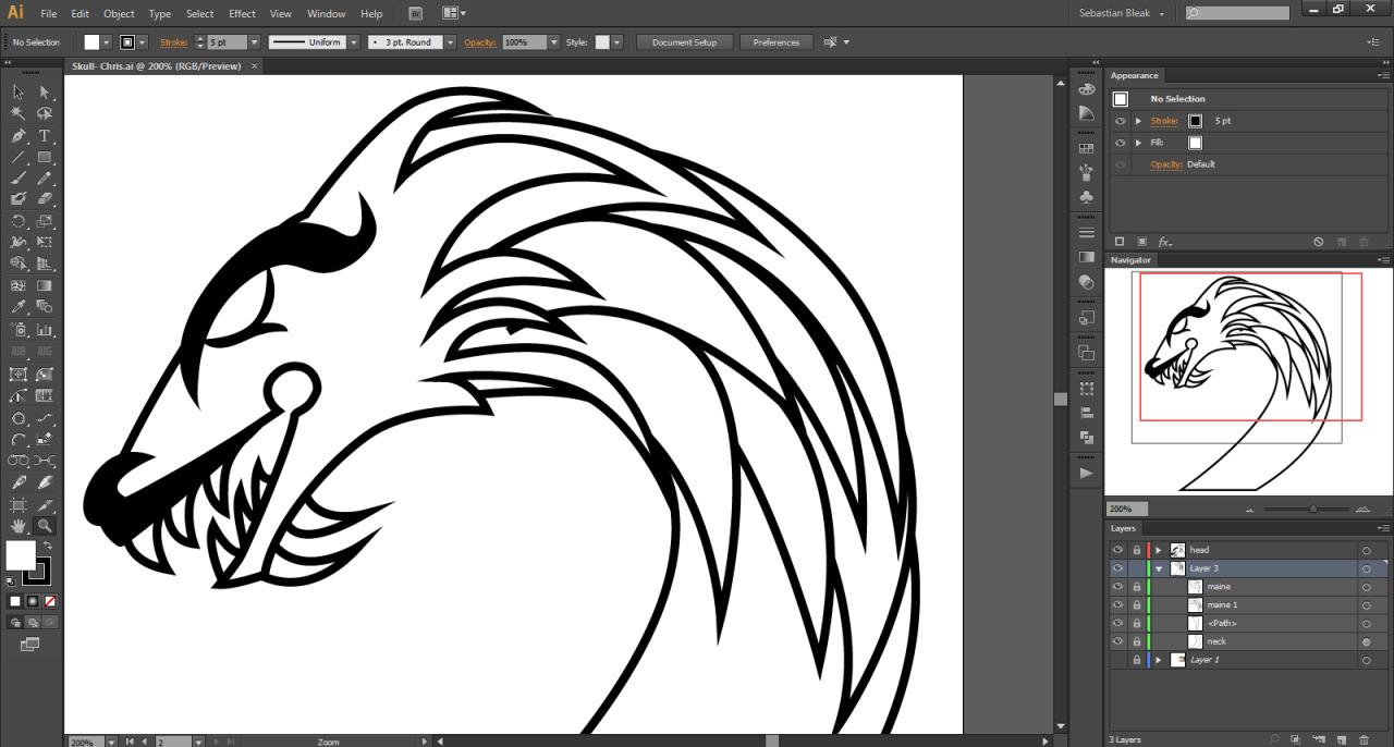 1 color illustration dragon