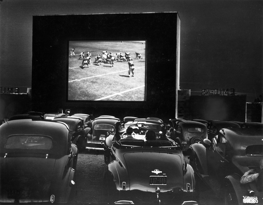 Cars parked at a drive-in theater with a 53-foot wide screen in Alexandria, Virginia, December 1941.Photograph by J. Baylor Roberts, National Geographic