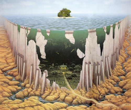 pixography:</p> <p>Jacek Yerka</p> <p>Some days my mind feels like this picture.<br /> I look at something simple like a small island,<br /> and my mind conjures up a complicated story.<br /> Instead of a simple island, I end up with a road leading<br /> from a brightly lit house surrounded by fancy gardens.<br /> This road then flows into a river on a bed of rocks.<br /> It can be fun to have an over-active imagination,<br /> especially when I have a place to post my thoughts.</p> <p>