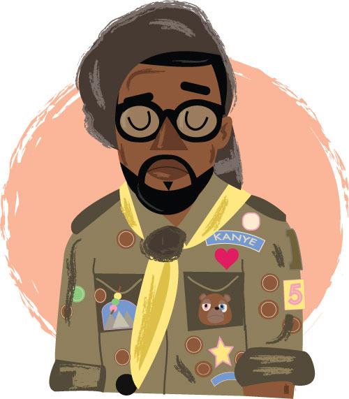 hatedxloving:  Moonrise kingdom Kanye West by Phil Howell  follow on twitter   Buy a print here:https://www.etsy.com/listing/122440171/kanye-west-wes-anderson-moonrise-kingdom