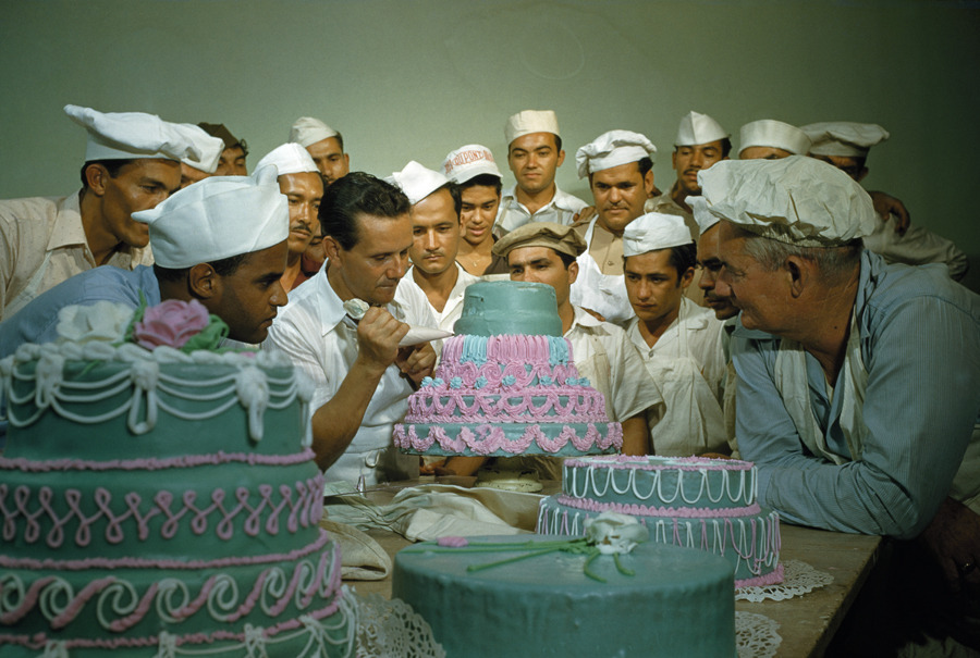 Former soldiers study cake decorating at a vocational school in Puerto Rico, April 1951.Photograph by Justin Locke, National Geographic