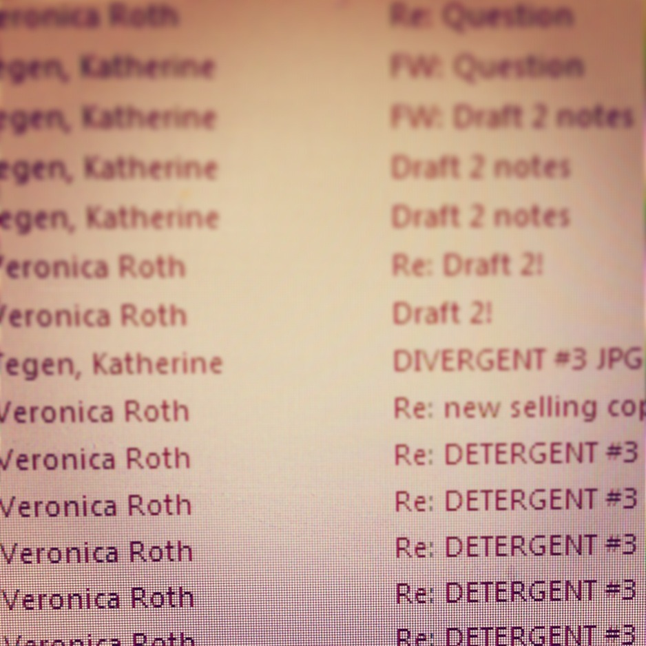 For a long time, the third book in the Divergent trilogy had a code name: DETERGENT.  This is Katherine Tegen's ALLEGIANT folder with emails of the drafts of DETERGENT to and from Veronica Roth.