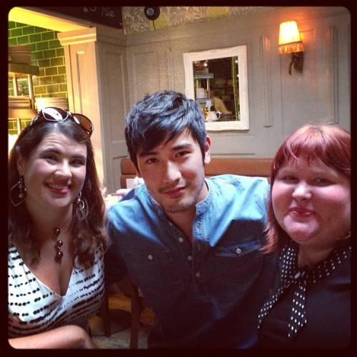 Me and Sarah and Godfrey Gao out and around in London. Godfrey once saved a kitten from a well.