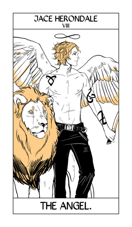 More of Cassandra Jean's Shadowhunter Tarot!   Here Jace takes the place of the Strength Card, only as an angel.