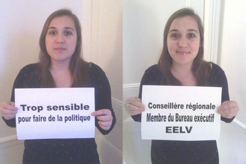 """""""Trop sensible pour faire de la politique»</p><br /><br /><br /><br /><br /> <p>Entendu par Élise Lowy, Conseillère Régionale de Basse-Normandie, Membre du Bureau Exécutif EELV."""