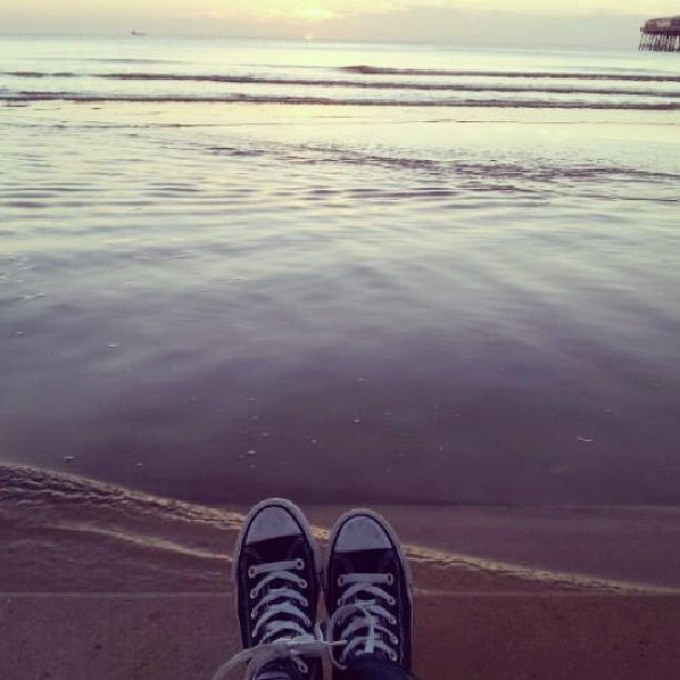 Sun, sand, sea and me. :) #Blackpool #Beach #Sunset #Sea #Sand #Steps #Me #Converse #AllStar #HiTops #NavyBlue #Bliss