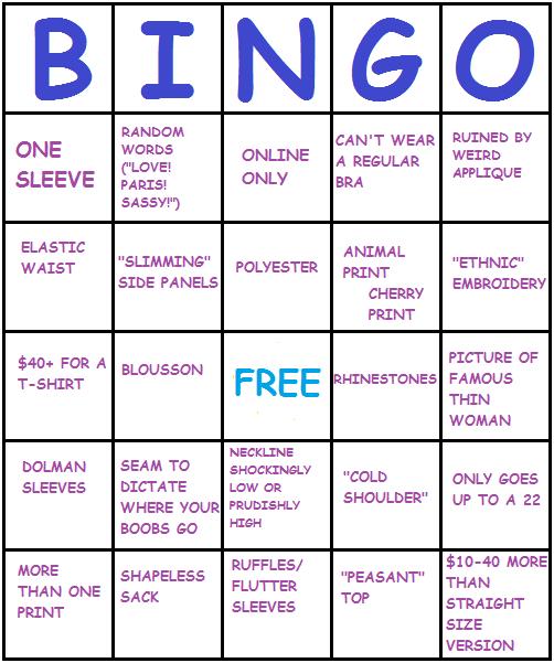 wtfplus:the completed plus size clothing bingo card.Bingo! BINGO! BIN-GO!!!!