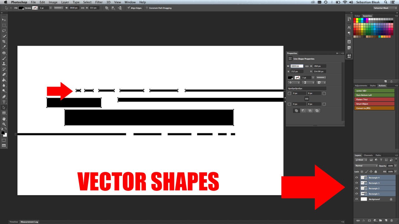 Vector shapes in Adobe Photoshop