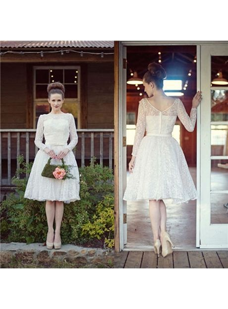 Cheap Beautiful Tea Length Lace Long Sleeve Short Wedding Dresses Under Price 166.99 - Gifilight.com