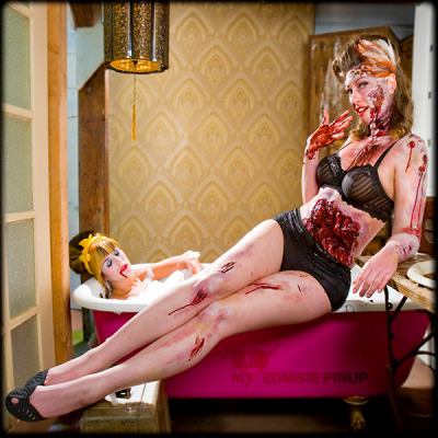 The new 2010 My Zombie Pinup Calendar is out. Here's Miss February.