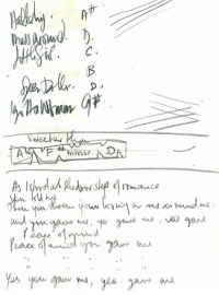 A sheet of lyrics for unreleased Beatles song written by Stuart Sutcliffe and John Lennon, early 1960'sWritten in pencil on white paper, seven lines in which Stuart writes:As I stood on the doorstep of romanceYou told meThen you threw your loving arms around meand you gave me, yes gave me, you gavePeace of Mind…Above the lyrics Stuart has written a set list of five songs and chords.
