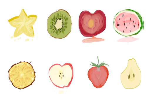 Quick Fruits! I think fruits have some of the best color pallets to offer whenever I'm designing or painting & trying to decide on color choices for an illustration. I'm a bit of a synesthesiast when it comes to color. Flavors always come to mind.