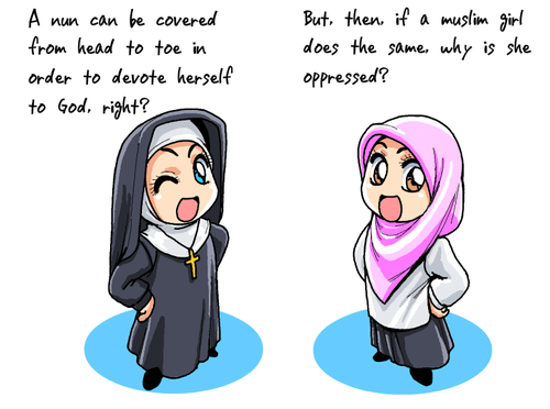 Chibi Nun says: A nun can be covered from head to toe in order to devote herself to God, right? Then Chibi Veil girl says, but then, if a Muslim girl does it, why is she being oppressed?