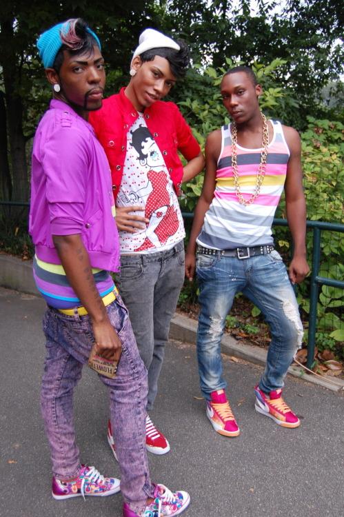 Pic of three black men queering masculinity at Atlanta Black Pride 2009
