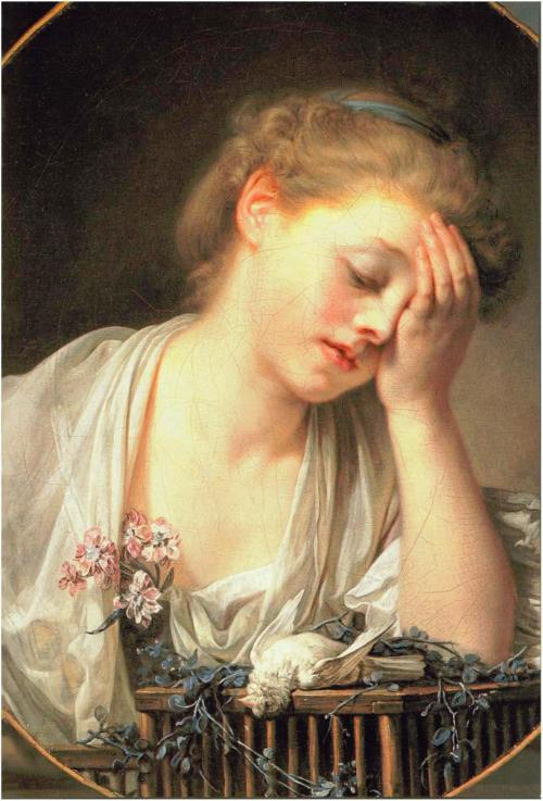 Jean-Baptiste Greuze : Young Woman Who Weeps over Her Dead Bird (late 18th c.)