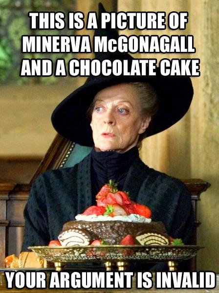 A still from a Harry Potter movie - Prof. McGonagall at a Hogwarts feast