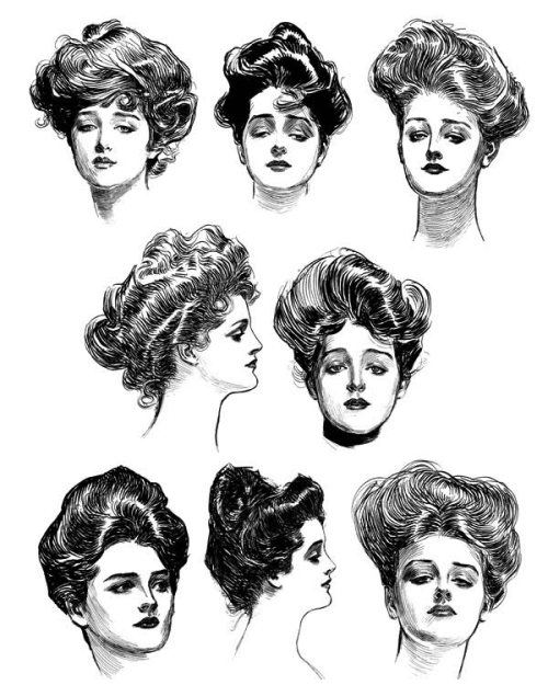 beautifuldavinci:  Gibson Girls - The pen-and-ink drawings of illustrator Charles Gibson came to represent the spirit of the early twentieth century in America. His illustrations, appearing in a number of popular magazines, both influenced and reflected attitudes, behaviors and mores in this country.