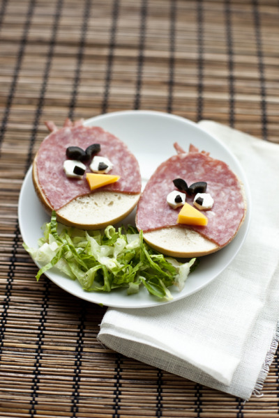 Bagel Sandwich That Looks Like Angry Birds