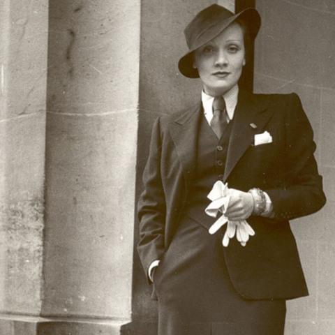 Marlene Dietrich in a 3-piece suit & fedora--swoon!