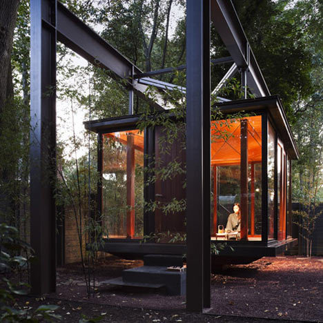 A music recital room resembling a Japanese tea house hangs like a  lantern in the garden of a residence northwest of Washington DC.  via itshadrian, originally from Dezeen.com