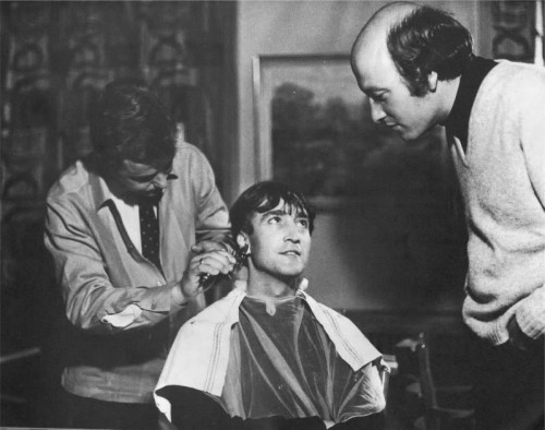 Sept 6, 1966 - John getting his hair cut in Celle, Germany for his role in How I Won the War.