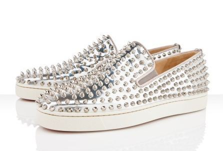 "NEW Christian Louboutin Roller-boat Mens Flat ($1,095)<br /> ""Roller-Boat"" could be considered the more casual version of the iconic ""Rollerboy Spikes"" loafer. This version in electric silver specchio covered in silver spikes will add an aggressive edge to any ensemble."