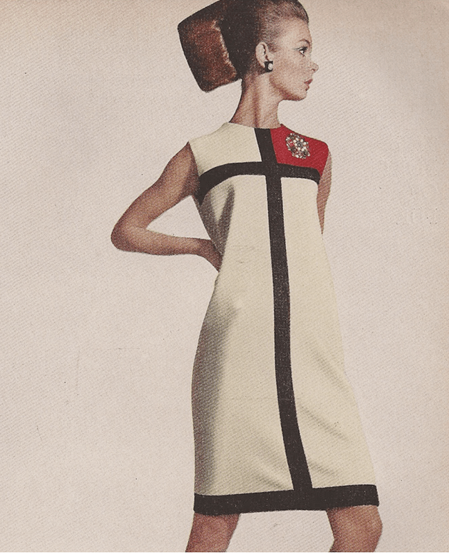Richard Avedon photo of Jean Shrimpton in Yves Saint Laurent Mondrian dress, Harper's Bazaar, October 1965