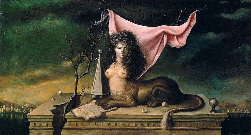 Petit Sphinx Gardien by Leonor Fini, 1943-44. Oil on canvas.