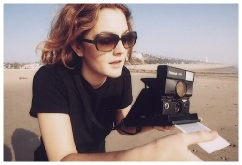 Drew Barrymore and a Polaroid