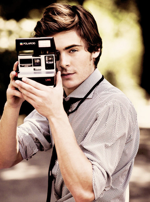 Zac Efron and a Polaroid