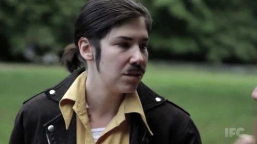 Carrie Brownstein with mustache