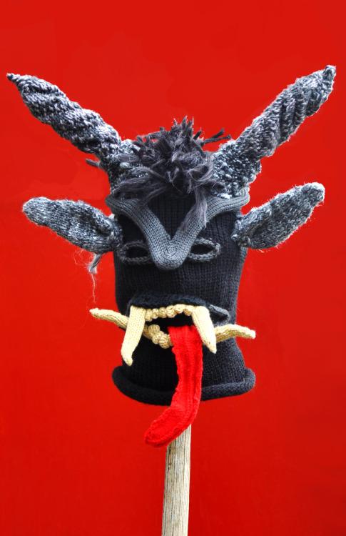 Krampus, handspun yarn, 2012 (commissioned)