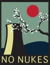"Julianna Joyce ""NO NUKES"" This work is a take on an old Japanese poster. It shows a Japanese Cherry Blossom tree overcoming a nuclear plant."