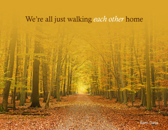 We're all just walking each other home  - Ram Dass