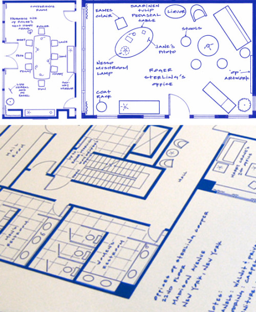 So great. A fantasy floorplan of the Mad Men office. This is the 22nd floor and features Bert Cooper and Duck Phillips' offices. Also on this floor is Harry Crane's second office along with offices for Ken Cosgrove and Sal Romano. This floor houses the various departments at the heart of Sterling Cooper including: the production department, casting department, the sound room, observation and research room, accounting and finance, media department, art department, the mail room, screening and projecting, and the research department.